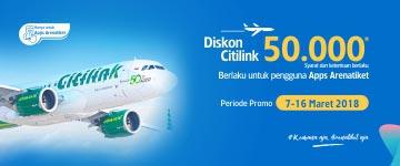 Diskon Tiket Pesawat Citilink 50K