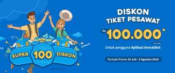 Super Diskon 100 Diskon tiket pesawat 100 Ribu